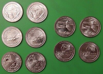 2015 US National Park Quarter Year Set (10 coins) Five P&Five D From Mint Rolls