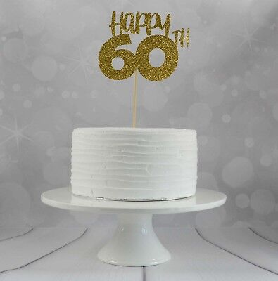 60th Birthday Cake Topper Party Decorations Glitter Card