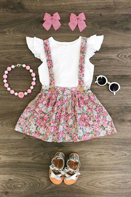 USA Toddler Baby Girls Summer Outfit Clothes T-shirt Tops+Floral Skirts 2PCS Set