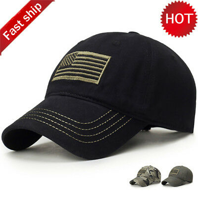 e2f2ec074f6 American Sports Golden Tonal Flag Patch Embroidery Curved Cap Baseball Army  Hat