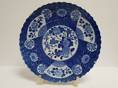 Antique Japanese Blue White Porcelain Imari Plate Edo Period