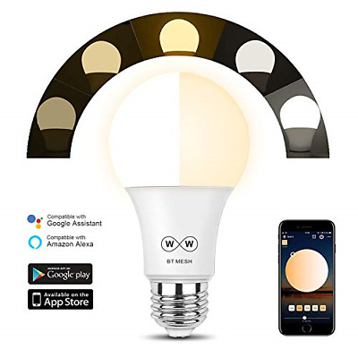 HaoDeng Bluetooth Mesh Smart LED Bulb 40W Tunable White,No hub Required, for The