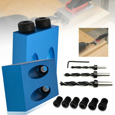 Set 15° Angle Pocket Hole Screw Jig + Dowel Drill Set Carpenters Wood Joint Tool