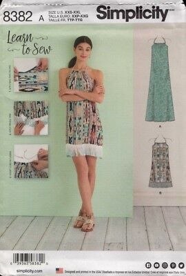 Simplicity Sewing Pattern 8382 Misses Halter Dress Size XXS-XXL Learn to Sew