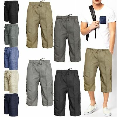 Mens Elasticated Knee Length Or 3/4 Shorts Cargo Combat Multi Pocket Summer Pant