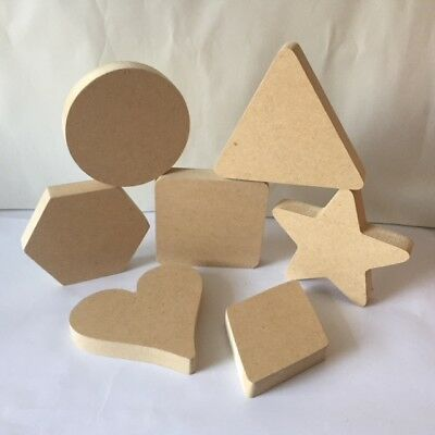 MDF Bundle of 18mm Chunky 7 Basic Shapes- Circle, Heart, Square, Star and more..