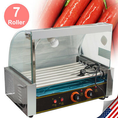 US 18 Hotdog 7Roller Grill Cooker Grilling Commercial W/ Cover Machine Equipment