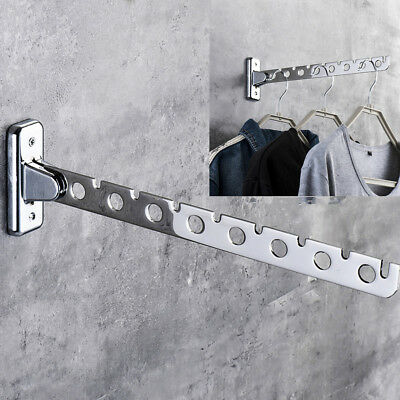 Stainless Steel Folding Wall Mounted Clothes Hanger Rack Hook Holder Organizer