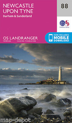 NEWCASTLE UPON TYNE LANDRANGER MAP 88 - Ordnance Survey - OS - NEW 2016