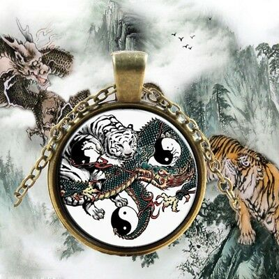 Chinese Style Necklace Tiger Print Men Jewelry Traditional Gifts Vintage Pendant