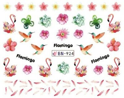 Nail Art Decals Transfers Stickers Pink Flamingos Feathers Flowers (BN924)