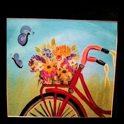 11 x 14 matted Floral Bicycle Painting Acrylic by Artist
