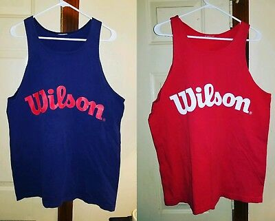 Lot Of 2 Vintage Wilson Athletic Tennis Tank Tops Extra Large Xl Red And Blue