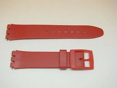 17mm Strap to fit Gents' Standard Swatch Watch, Resin, 20mm Shoulders, Red
