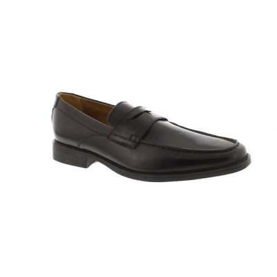 1750a2bfe23 Mens Clarks Tilden Way Black Leather Classic Loafer Shoes With Cushioned  Insole