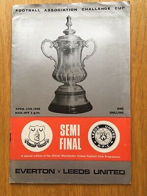 Leeds United v  Everton home programme 1968 FA Challenge Cup Semi Final