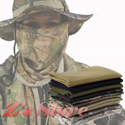 Military Army Mesh Tactical Neck head Scarf Wrap Mask Sniper Veil Camo Khaki