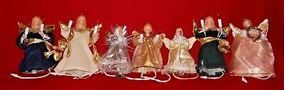 Vintage Christmas Light Up Pigtail Small Angel Tree Topper Ornament Lot of 7
