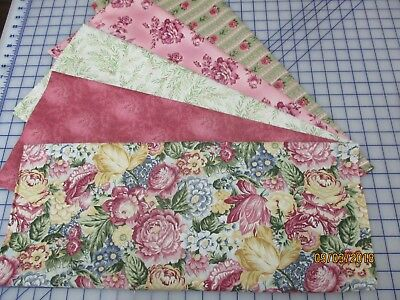 Awesome Floral In Pink & Green 5 Yard Quilt Kit Fabric & Pattern