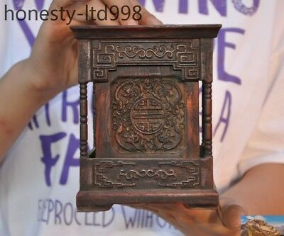 """Old Chinese Huanghuali Wood carved beast dragon """"夀"""" statue Brush Pot pencil vase"""