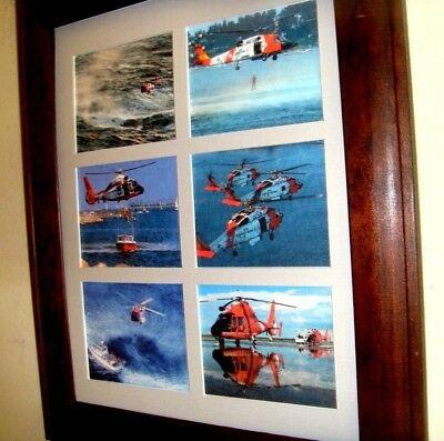 COAST GUARD -  SHIPS, HELICOPTER + RECRUITMENT - 6 pictures matted and framed