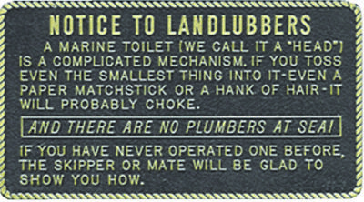 """Boat Marine Notice To Landlubbers Plaque 3"""" W X 5-1/2"""" H With Adhesive Backing"""