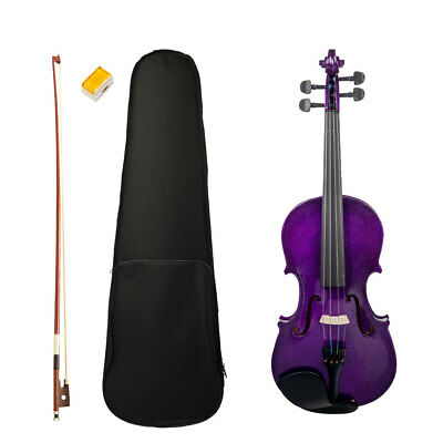 4/4 Acoustic Violin Fiddle Kit for Beginners Students Music Lovers Purple