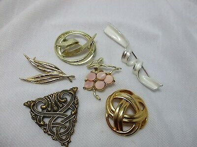 6 Vintage Brooches Pins - MOP Dancer - Silver Twist - Knot - Leaves - Celtic
