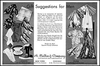 1931 A. Sulka & Company Haberdasher shirtmakers vintage art Print Ad adL32