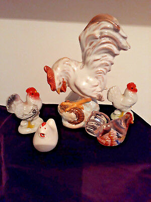 Collection of ceramic and glass chickens