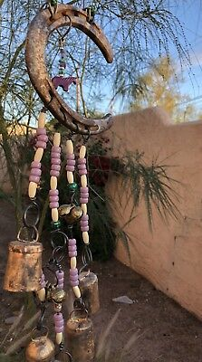 COUNTRY WESTERN HORSESHOE Wind Chimes Cow Bells Purple Crow Beads SUGILITE PONY