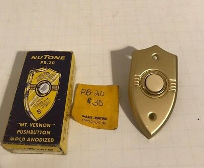 Vintage NUTONE PB-20 Doorbell Mt Vernon Shield Button Gold Anodized