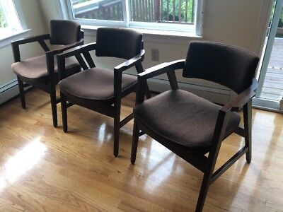Set of 3 Vintage Mid-Century Modern 1970s  Arm Chairs W.H. Gunlocke