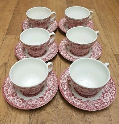 BROADHURST IRONSTONE Red/Pink Constable Series Cup + Saucer Set x 6 1776 - 1976