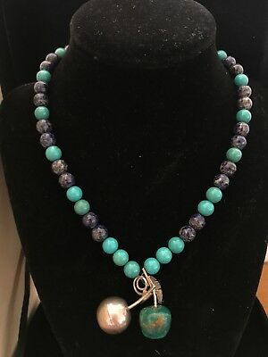 Beautiful Antique Silver 925, Lapis Lazuli And Turquoise Necklace Apple