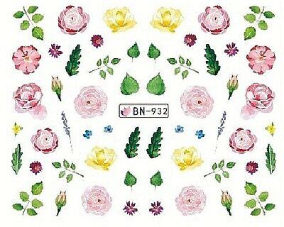 Nail Art Decals Transfers Stickers Pink Flowers Roses (BN932)