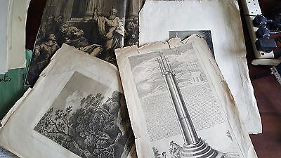 4 Large Antique Original 18th & 19thC Engravings inc Doncaster Cross to 75x53cm