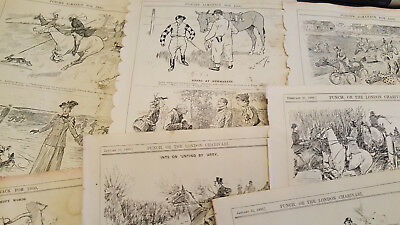 42 Original Antique Hunting Fishing Shooting Engravings Punch Magazine Wholesale