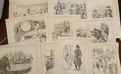 35 Original Antique 1900 Full Page Topical Engravings Punch Magazine Wholesale