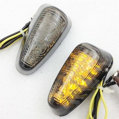 H. SMOKE Flush Mount Motorcycle Led Turn Signals Blinker Lights Universal Bike