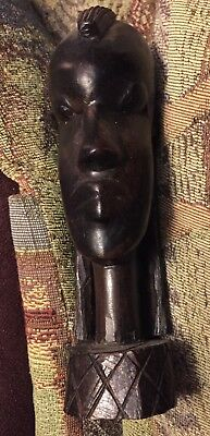 Vintage Small Hand Carved Kenya Ebony Bust Of Woman