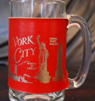 Vintage NYC Glass w/ World Trade Center Twin Towers Pre 9/11 Empire State UN