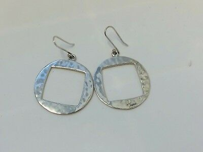 Modernist Taxco Mexico MWS Sterling Silver 925 Hammered Open Square Earrings