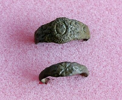 Two Authentic ANCIENT ROMAN ARTIFACT BRONZE RING - Metal detector found 04