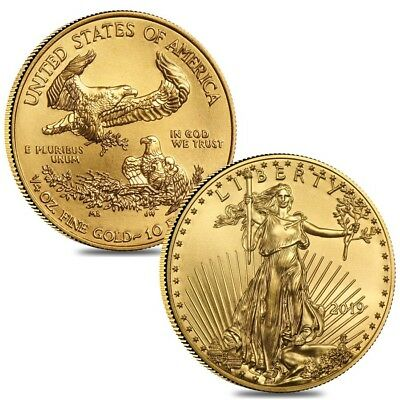Lot of 2 - 2019 1/4 oz Gold American Eagle $10 Coin BU