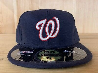 New Era Washington Nationals Fitted Hat Cap Navy White Black 59Fifty Men Sz  7-8 3838fb7559a