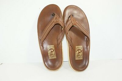 91792bfb1d4 Island Slipper Pro Brown Leather Men s Thong Flip Flops Sandals Size 10  Soft Bed