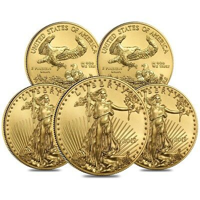 Lot of 5 - 2019 1/2 oz Gold American Eagle $25 Coin BU