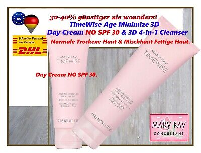 Mary Kay TimeWise Age Minimize 3D Day Cream NO SPF 30 & 3D 4-in-1 Cleanser