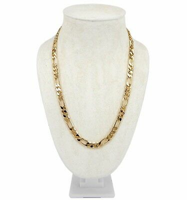 "14k Italian Figaro Link Chain 8mm Necklace 20"" 24"" 30"" inch Gold Plated"